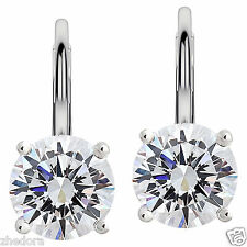 3.0 CT BRILLIANT ROUND DROP DANGLE LEVERBACK EARRINGS 14K WHITE GOLD