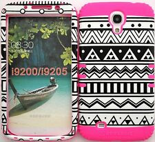 Samsung Galaxy Mega 6.3 Hybrid Impact Cover Case BW Tribal Aztec / Pink