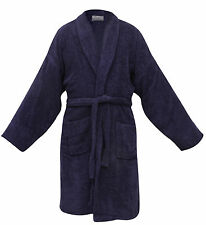 BRAND NEW HEAVY 400GSM ESSEX DELUXE 100% EGYPTIAN COTTON BATHROBE BATH ROBE BLUE