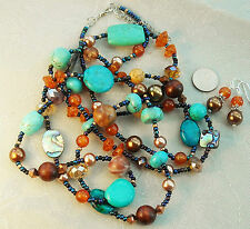 "Set Turquoise Amber Glass Pearl Crystal Necklace 38"" and Pierced Earrings \"