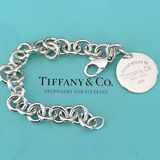 Return To Tiffany Silver Circle Tag Round Charm Bracelet