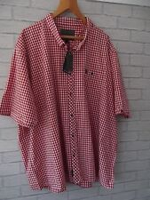 mens NWT Voi Jeans uk size 4XL red check short sleeve cotton shirt