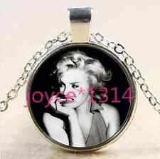 Marilyn Monroe Cabochon Tibetan silver Glass Chain Pendant Necklace #2374