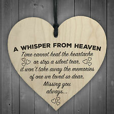A Whisper From Heaven Wooden Hanging Heart Memorial Plaque Shabby Chic Gift Sign