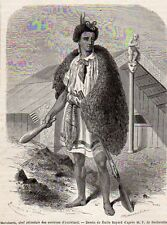 AUCKLAND MATUTAERA CHEF ZELANDAIS CHIEF NEW ZEALAND IMAGE 1865 OLD PRINT