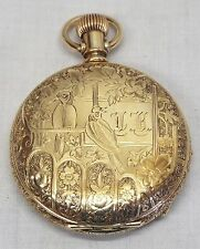 Antique ELGIN Gold Filled Ladies Bird Design Case POCKET WATCH -RUNS- 11 Jewels
