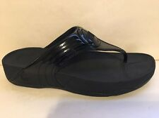 FITFLOP Black Patent Walkstar #029-001 Workout Flip Flop Size 10 42