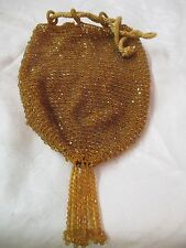 Antique amber glass Beaded Drawstring Purse bag with Tassel