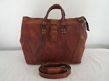 "17"" Handcrafted Real Leather Weekend Travel Aircabin Luggage Padded Laptop Bag"