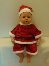 LUXURY VELOUR,SANTA SUIT WITH HAT FOR DOLLS/BEARS,Gift,Stocking Filler,Annabel