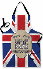 ON YOUR MARKS UNION JACK BAKE OFF DESIGN APRON KITCHEN COOKING GREAT GIFT IDEA