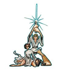 Cartoon Luke Skywalker and Princess Leia Classic Star Wars Pose Iron-On Patch