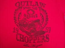 retro red OUTLAW SPEED CLUB REBELS t shirt - hipster bikers L.A. choppers - (L)