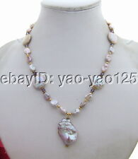 Q082311 Excellent! 25mm Keshi Pearl&Crystal Necklace