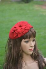 Red Flower Womens Dress Vintage Fascinator Wool Pillbox Hat Party Wedding A083