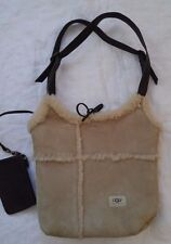 Near Perfect Ugg Sand Suede Shearling Lined Tote Shoulder Bag Purse w/ Wallet