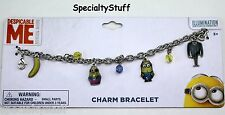 "NEW DESPICABLE ME MINION 7"" CHARM BRACELET 2MM METAL CHARMS & FACETED BEADS (PL)"