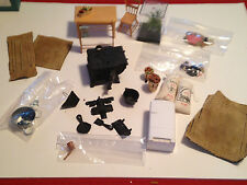 Older Dollhouse Kitchen  - Chair, Table, Cast Iron Stove, Ton Of Accessories