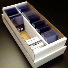 BCW 1600 Card Shoebox Cardboard Storage Box with 400 Card Toploaders and Sleeves