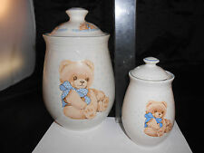 SET OF 2 TIENSHAN STONEWARE COUNTRY BEAR CANISTERS BLUE RIBBON CANISTER TEDDY