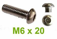 M6 x 20 Stainless Button Head Hex Security Pin 6mm x 20mm Tamperproof Screws x10