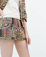 ZARA TRF TRAFALUC ETHNIC INDIAN EMBROIDERED BOHO FESTIVAL SHORTS S 8 10!
