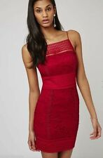 Beautiful Red Berry Floral Lace Strappy Dress Size 8
