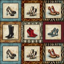 Sassy Shoes Squares Panel Cotton Quilting Fabric - 60cm x 110cm -SPX