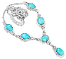 Larimar - Dominican Republic 925 Sterling Silver Necklace Jewelry SN16687
