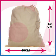 100% Cotton Plain Drawstring Bags - Xmas Sack / Stocking - Storage / Laundry Bag