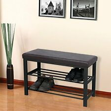Metal Shoe Bench 2-Tier Rack Entryway Storage Faux Leather Hall Stand Cleaning