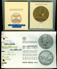 1964 BZ Immigrant Blockade Runners 30th Anniv Israel Official State Medal w/Box