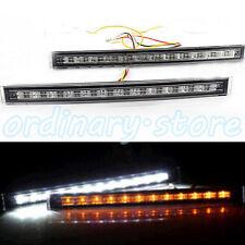 1 Pair 12 LED Daytime Running Light Car White DRL & Amber Turn Signal Fog Lamp