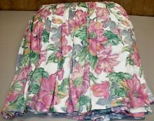 "King Ruffled Bedskirt 24"" Drop Thick 100% Cotton Tropical Floral EUC"