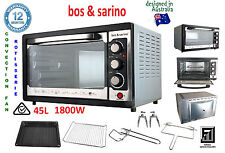 New BOS & SARINO 1800W Fan Forced Convection Rotisserie Bench Top Grill Oven 45L