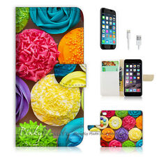"iPhone 6 (4.7"") Print Flip Wallet Case Cover! Cup Cake Flower P1417"
