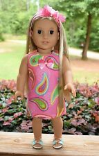 "Handmade American Girl Doll Clothes, Pink Paisley Dress, Fits Julie, 18"" dolls"