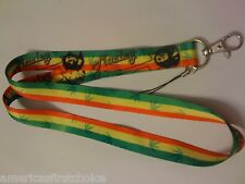 "Rasta Stripes with Bob Marley Portraits 15"" Lanyard/Landyard ID Holder Keychain"