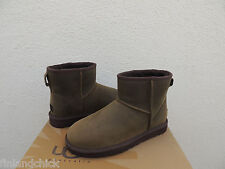 UGG OLIVE WATER-RESISTANT CLASSIC MINI LEATHER SHEEPSKIN BOOTS, US 7/ EU 38 ~NEW