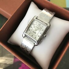 COACH Womens Silver Tone Stainless Steel Signature Etched Bangle WATCH 14502159