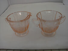 Pink Depression Glass Creamer and Sugar