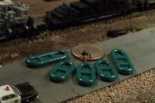 5 RUBBER RAFT BOATS N Scale Vehicles Green