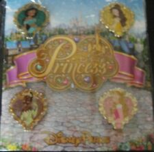 Disney Parks Storybook Princess- Princess Hearts Booster Set 4 Pins- New+ Sealed