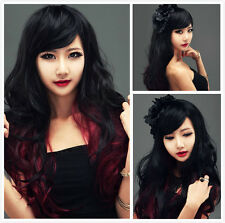 Fashion Long Women Sexy Black Red Wig Wigs Cosplay Party Costume Curly Wavy Hair
