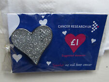 Cancer Research UK Charity Pin Badge - Sparkle Jubllee Heart Silver