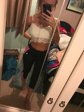 Size 6 Missguided White Lace Low Cut Crop Top Bralet Tee Zip Up Bralette