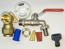 25mm MDPE Lever Outside Tap Kit | Brass Wall Plate & Garden Hose Fitting