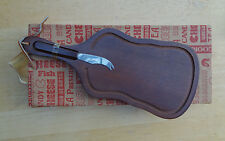 Vintage WOOD VIOLIN OR GUITAR SHAPED CHEESE BOARD Bread Board w/ Cheese Knife