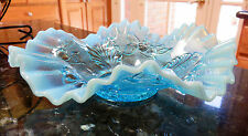 BLUE BLUE BLUE Northwood BLOSSOMS & PALMS Opalescent Ruffled Candy Ribbon Bowl