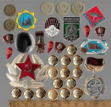 RARE Old Russia Civil Pin CCCP Red Star Army Cold War Lenin Medal Badge Coin Lot